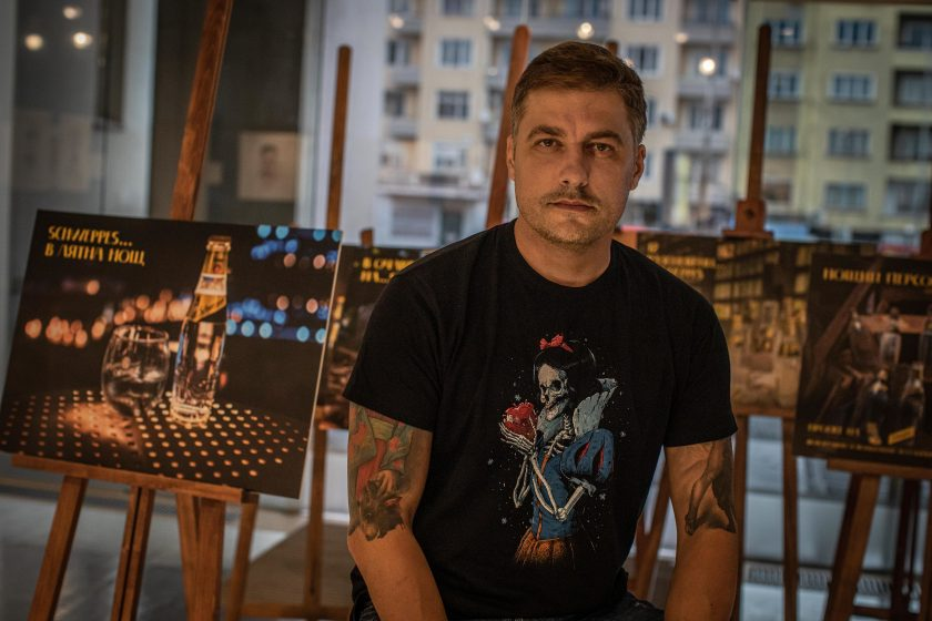 Vlado Karamazov with his first exhibition