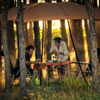 Camping people near Ezerets