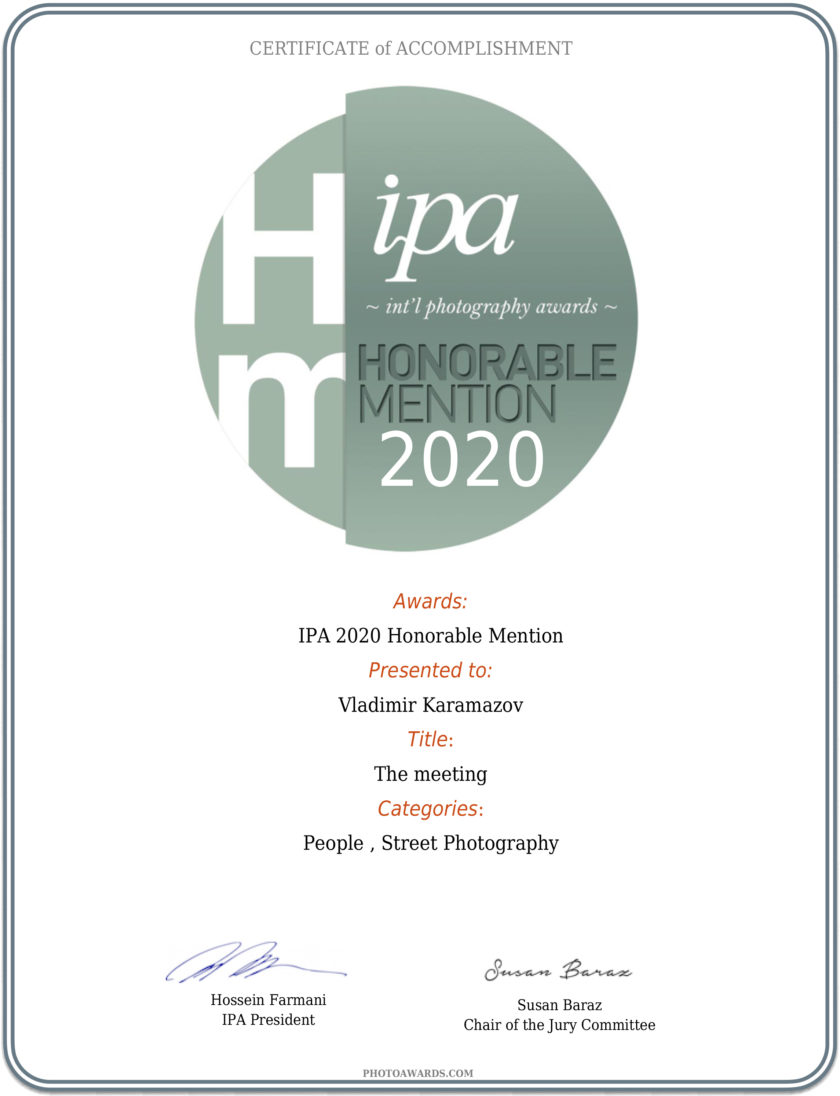4 merits Honorable Mention from IPA 2020