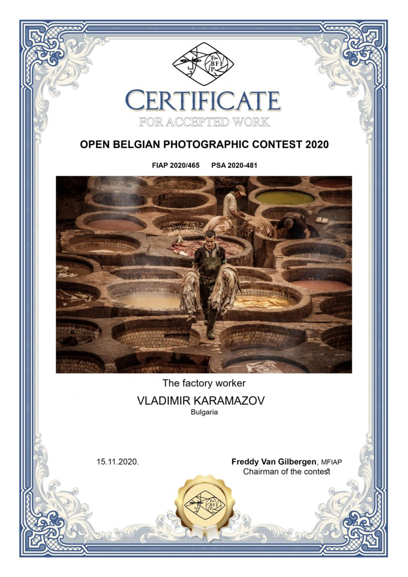 Honorary diploma from the Open Belgian Photographic Contest 2020